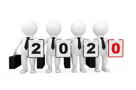 3d Businessmans with New 2020 Year Sign on a white background. 3d Rendering 写真素材 - 130802649