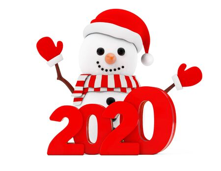 New Year Concept. Snowman with Christmas New 2020 Year Sign on a white background. 3d Rendering
