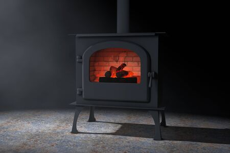 Classic Оpen Home Fireplace Stove with Chimney Pipe and Firewood Burning with Red Hot Flame in the Volumetric Light on a black background. 3d Rendering