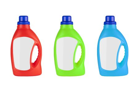 Red, Green and Blue Plastic Detergent Container Bottle Mock Up with Blank Space for Yours Design on a white background