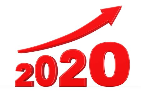 Progress Arrow in New 2020 Year Sign on a white background. 3d Rendering 写真素材