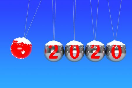 New Year concept. Spheres of Newton with 2020 on a blue background. 3d Rendering