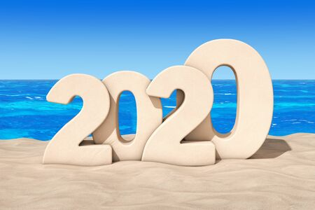 Happy 2020 New Year Concept. 2020 New Year Sign at Sunny Beach extreme closeup. 3d Rendering