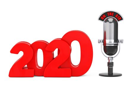 2020 New Year Concept. Red 2020 New Year Sign with Microphone and On The Air Sign on a white background. 3d Rendering Archivio Fotografico - 130802556