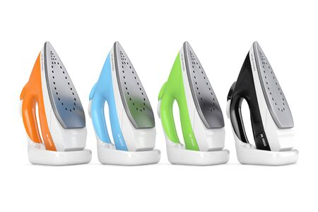 Row of Colorful Electric Clothes Steam Irons on a white background. 3d Rendering