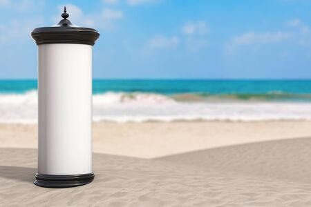 Empty Blank Cylindrical Advertising Column Billboard Mockup with Free Space for Your Design on Summer Sand Ocean Beach on a white background. 3d Rendering