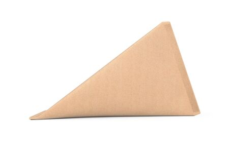 Cardboard Triangle Box Cream, Juice or Milk Pack Mock Up on a white background. 3d Rendering