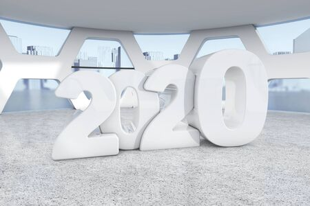 White New 2020 Year Sign in Abstract Bright Office Meeting Room extreme closeup. 3d Rendering