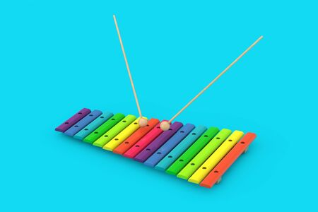 Colorful Wooden Xylophone with Mallets on a blue background. 3d Rendering