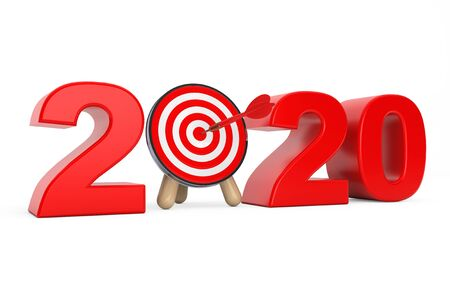 Darts Target as 2020 year Sign on a white background. 3d Rendering 写真素材