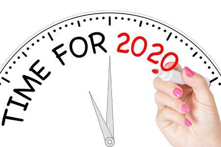 Woman Hand Writing Time For 2020 Message with Red Marker on Transparent Wipe Board on a white background. 3d Rendering