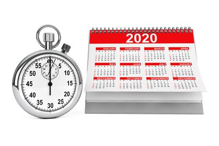 2020 year calendar with stopwatch on a white background. 3d Rendering
