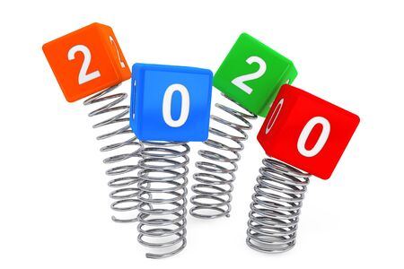 Spring Cubes with 2020 New Year Sign on a white background. 3d Rendering Foto de archivo - 130802476