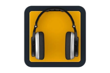 Black Modern Headphones as Touchpoint Web Icon Button on a white background. 3d Rendering Foto de archivo - 130802483