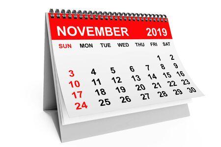 Calendario de noviembre del año 2019 sobre un fondo blanco. Representación 3d Foto de archivo