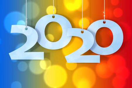 Hanging on Ropes New 2020 Year Sign on a coloured background. 3d Rendering Reklamní fotografie
