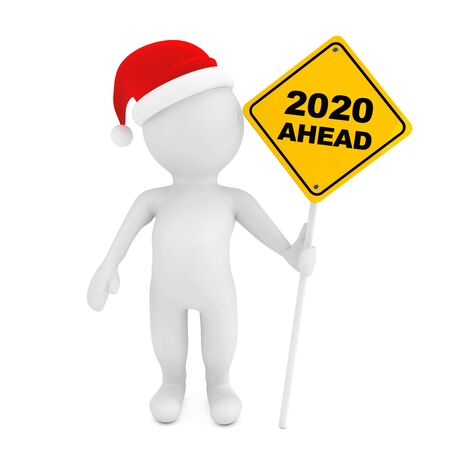 3d Person with 2020 Ahead Traffic Sign on a white background. 3d Rendering