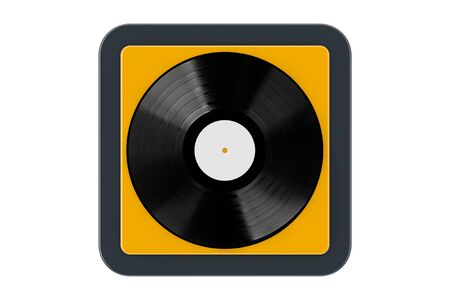 Black Vinyl Record as Touchpoint Web Icon Button on a white background. 3d Rendering