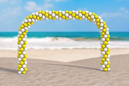 Summer Vacation Concept. White and Yellow Balloons in Shape of Arc, Gate or Portal on an Ocean Deserted Coast extreme closeup. 3d Rendering
