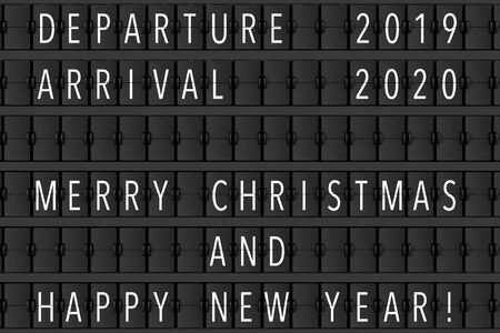 Airport Announcement Flip Mechanical Timetable with Hapy Merry Christmas and Happy New 2020 Year Sign extreme closeup. 3d Rendering Фото со стока