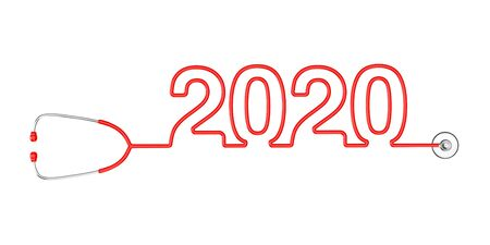 Red Stethoscope Tubing Forming New 2020 Year Sign on a white background. 3d Rendering