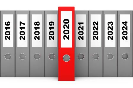 Office Folders with New Year 2020 Sign on a white background. 3d Rendering