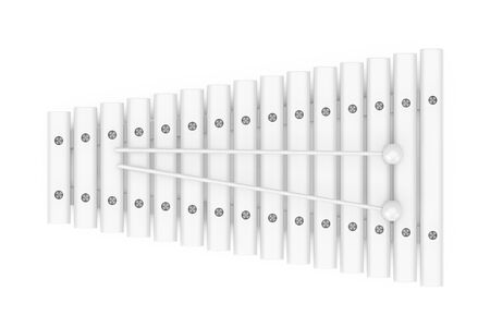 White Wooden Xylophone with Mallets Nockup in Clay Style on a white background. 3d Rendering Stock fotó