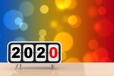 Retro Flip Clock with 2020 New Year Sign on a wooden table. 3d Rendering