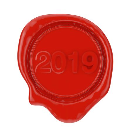Red Wax Seal with 2020 New Year Sign on a white background. 3d Rendering Banque d'images - 130801514