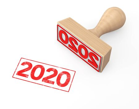 Sello de goma de madera con signo de año nuevo 2020 sobre un fondo blanco. Representación 3D