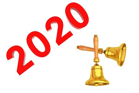 New Year 2020 Sign with Golden Bells on a white background. 3d Rendering Фото со стока