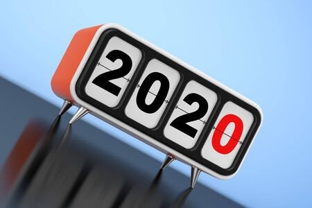 Retro Flip Clock with 2020 New Year Sign on a blue background. 3d Rendering