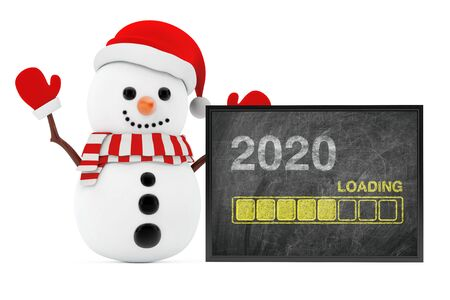 New Year Concept. Snowman near Chalkboard with Progress Bar Showing Loading of 2020 New Year on a white background. 3d Rendering