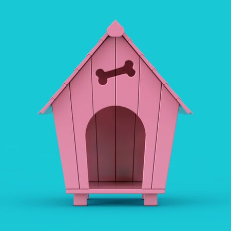 Pink Cartoon Dog House Mockup Duotone on a blue background. 3d Rendering
