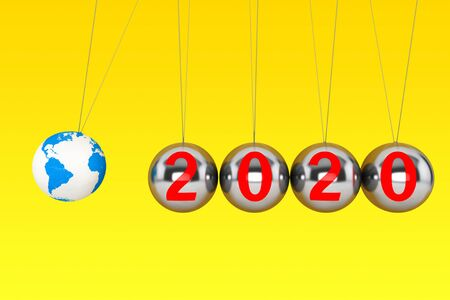 New Year concept. Spheres of Newton with Globe Earth and 2020 sign on a yellow background. 3d Rendering