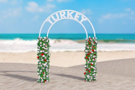 Welcome to Turkey Concept. Beautiful Decor Arc, Gate or Portal with Flowers and Turkey Sign on an Ocean Deserted Coast extreme closeup. 3d Rendering Stok Fotoğraf