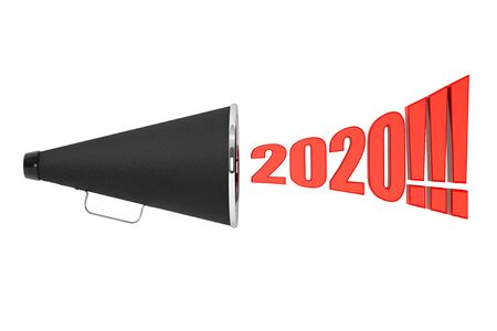 Black Vintage Megaphone with 2020 year Sign on a white background. 3d Rendering