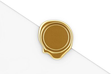 Gold Wax Seal with Blank Space for Your Design on a white paper background. 3d Rendering
