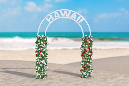 Welcome to Hawaii Concept. Beautiful Decor Arc, Gate or Portal with Flowers and Hawaii Sign on an Ocean Deserted Coast extreme closeup. 3d Rendering