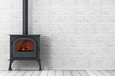 Classic Оpen Home Fireplace Stove with Chimney Pipe and Firewood Burning in Red Hot Flame in front of brick wall. 3d Rendering