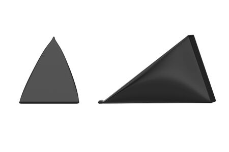 Black Cardboard Triangle Box Cream, Juice or Milk Pack Mock Up on a white background. 3d Rendering Standard-Bild