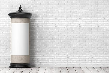 Empty Blank Cylindrical Advertising Column Billboard Mockup with Free Space for Your Design in front of brick wall. 3d Rendering Banco de Imagens
