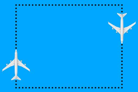 Top View of White Jet Passengers Airplane as Dots Frame  with Blank Space for Your Design on a blue background. 3d Rendering