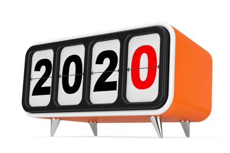 Retro Flip Clock with 2020 New year Sign on a white background. 3d Rendering