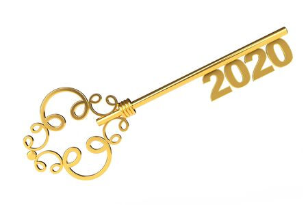 Golden Vintage Key with 2020 year Sign on a white background. 3d Rendering