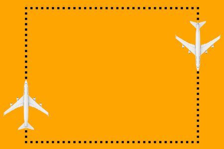 Top View of White Jet Passengers Airplane as Dots Frame with Blank Space for Your Design on an orange background. 3d Rendering
