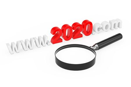 2020 New Year Concept. WWW 2020 Com Site Name with Magnifying Glass on a white background. 3d Rendering 스톡 콘텐츠