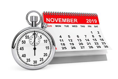 2019 Year November Calendar with Stopwatch on a white background. 3d rendering