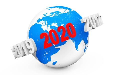 New Year Concept. 3d number 2020 around Earth Globe on a white background. 3d Rendering