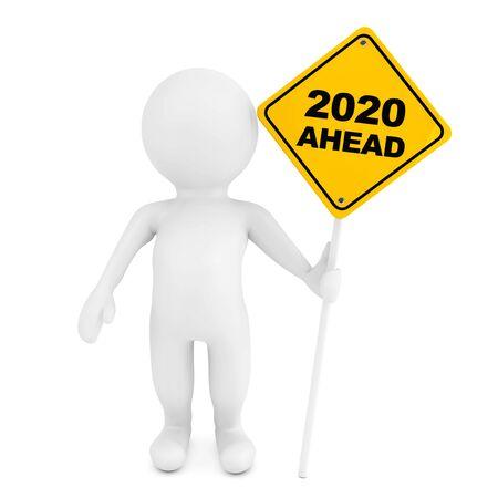 3d osoba ze znakiem drogowym 2020 z wyprzedzeniem na białym tle. Renderowanie 3D